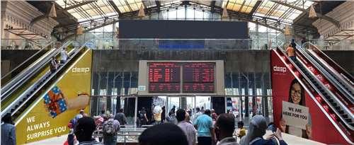 Escalators handrails branding Misr railways station